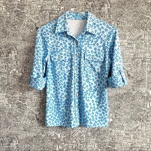 J. McLaughlin Leopard Print Button Down Shirt